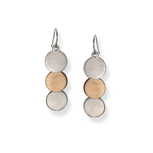 Sterling & 14kt Trio Drop Earrings with three cascading circles