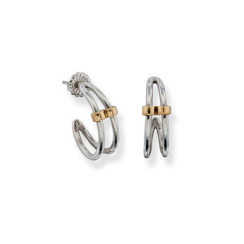 Sterling Silver & 14kt Gold Duet Earrings