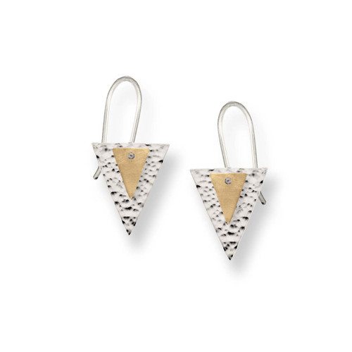Sterling & 14kt Double Triangle Earrings