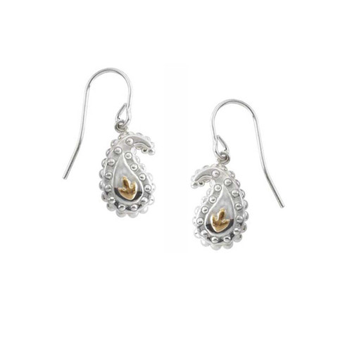 Sterling Silver & 14kt Gold Leaves Taj Earrings