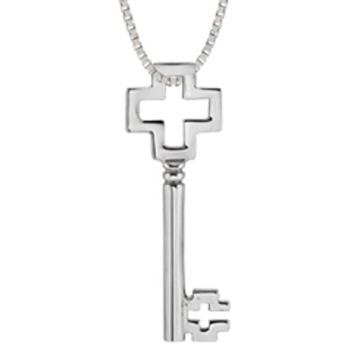 Sterling Silver Cross Key Pendant