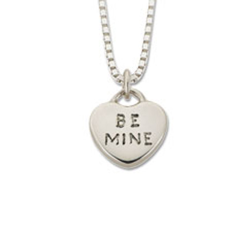 "Sterling Silver Candy Heart Pendant ""Be Mine"""