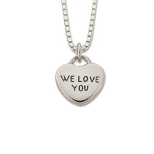 "Sterling Silver Candy Heart Pendant ""We Love You"""