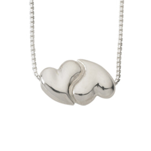 Sterling Silver Joined Hearts Bead Pendant