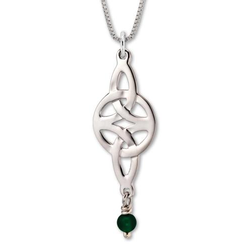 Sterling Silver Misty Isle green Onyx Beaded Pendant