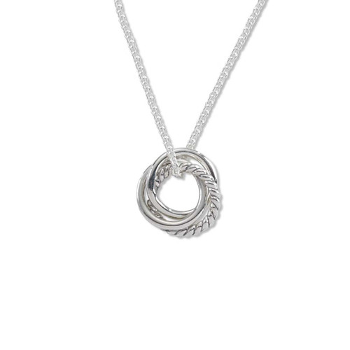 Sterling Silver Triple Knot Pendant with interlock rings