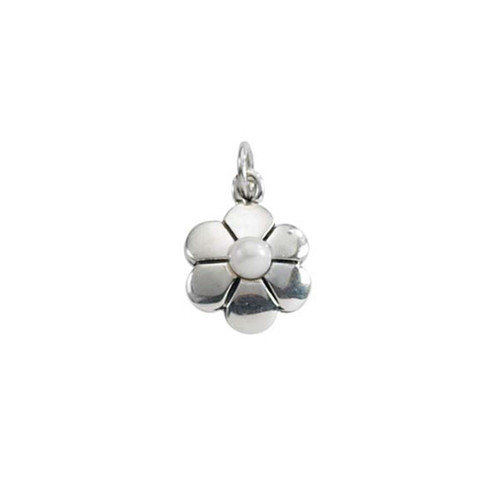 Sterling Silver Flower Pearl  Pendant with Freshwater Pearl