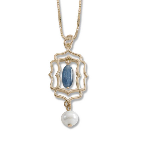 14kt Mystic Window Kyanite and Freshwater Pearl Pendant
