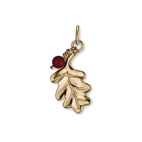 14kt Oak Leaf & 5mm Carnelian Bead Pendant