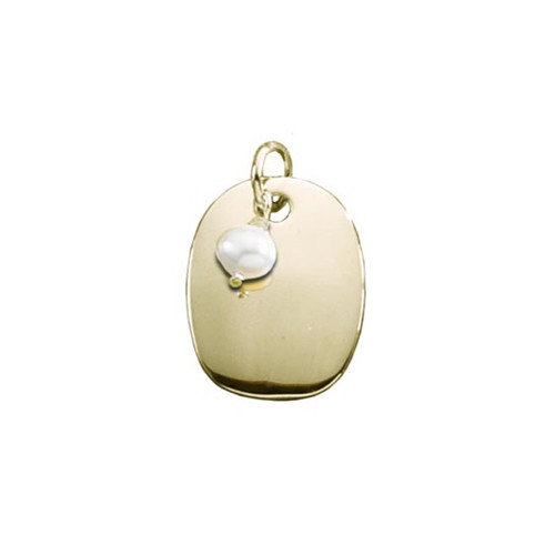 14kt Oval Plaque with Freshwater Pearl Pendant