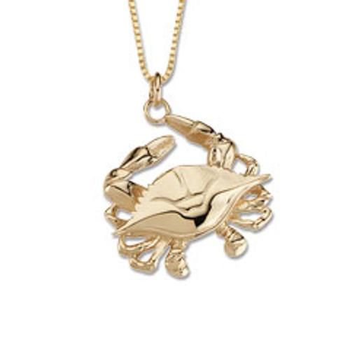 Attractive 14kt Gold Blue Crab Pendant