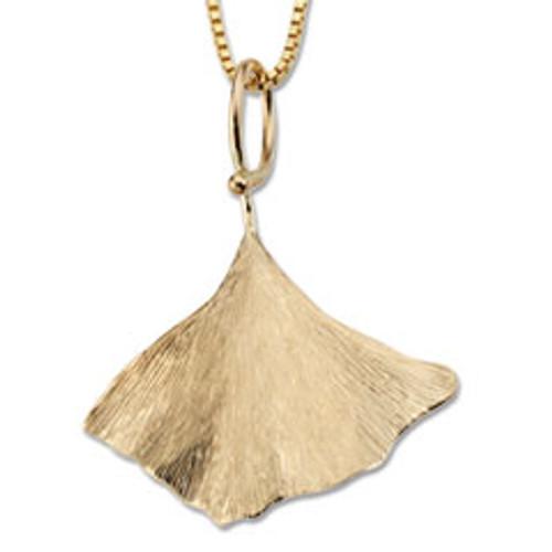 Fantastic 14kt Gold Ginkgo Leaf Pendant