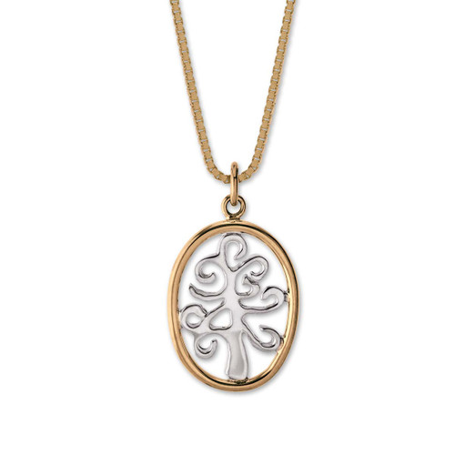 14kt Framed Sterling Silver Tree of Life Pendant