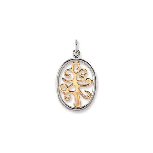Sterling Silver Framed 14kt Tree of Life Pendant