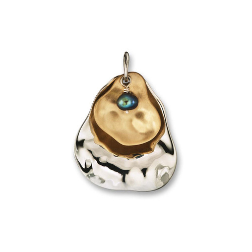 Sterling & 14kt Peacock Pearl Oyster Pendant