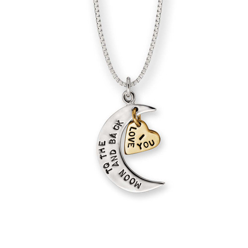 Sterling & 14kt I Love You to the Moon & Back Pendant