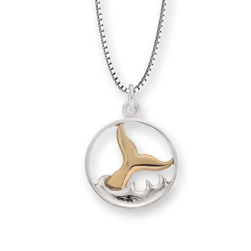 Sterling & 14kt Whale Watch Pendant