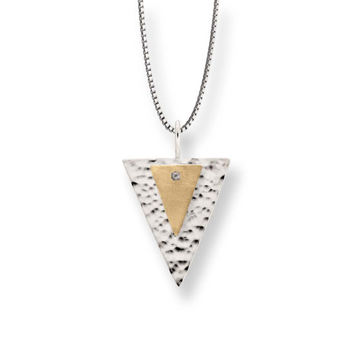 Stylish Sterling & 14kt Gold Double Triangle Pendant