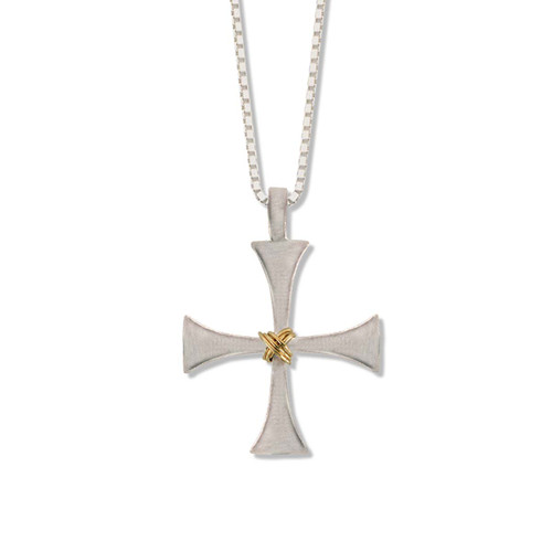 Sterling & 14kt Byzantine Cross