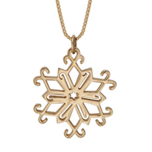 Designer 14kt Gold 2013 Snowflake Pendant