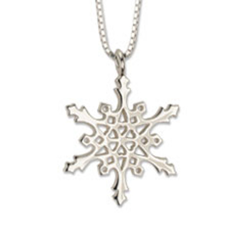 Handcrafted Sterling Silver 2004 Snowflake Circle Pendant