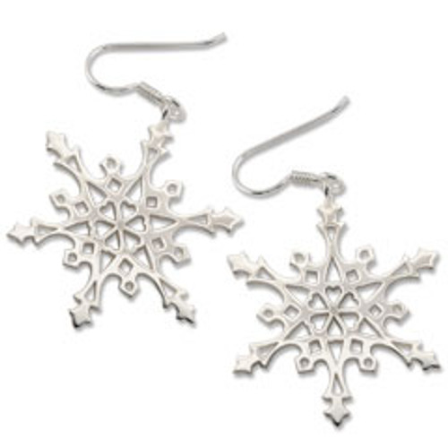 Sterling Silver 2004 Snowflake Earrings with a circle of Hearts
