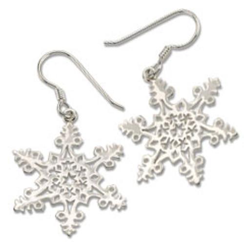 Sterling Silver 2005 Snowflake Earrings