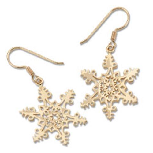 14kt 2005 hand in Hand Snowflake Earrings