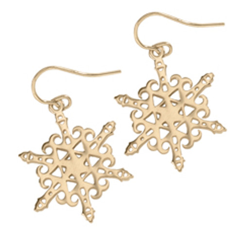14kt 2012 Snowflake Earrings shows Tribute to Lighthouse