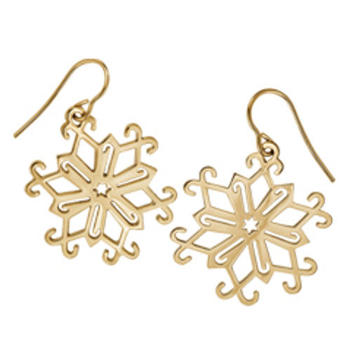 14kt 2013 candy Cane Snowflake Earrings