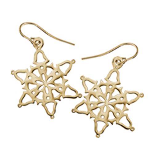 14K Gold 2014 Bells Snowflake Earrings