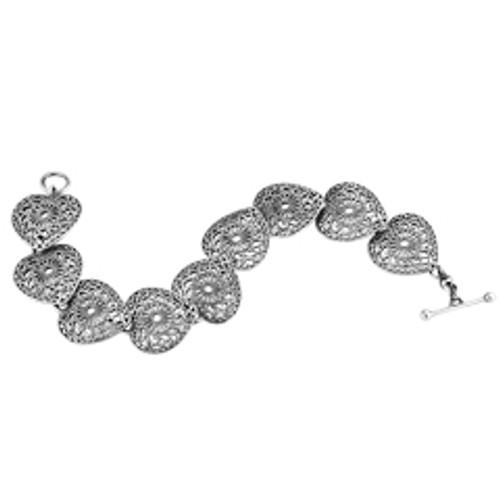 Sterling Silver Victorian Lace Heart Bracelet