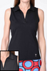Golftini Black Sleeveless Polo with Mesh Trim