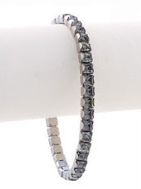 Bonjoc Black Diamond Swarovski Crystal Stretch Golf Bracelet