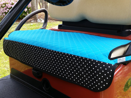 Quilted Turquoise Polka Dot Cart Seat Cover