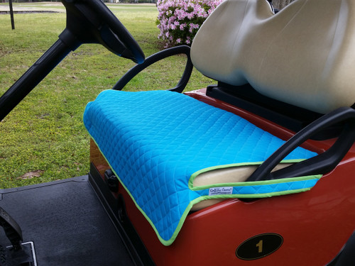Quilted Turquoise and Green Cart Seat Cover