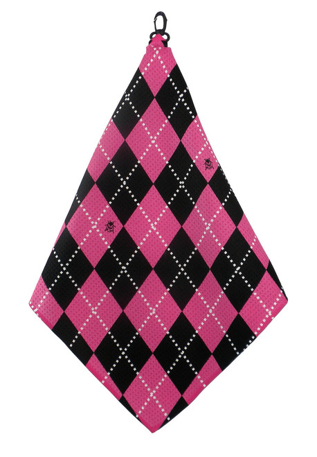 Beejo Hot Pink Argyle Golf Towel