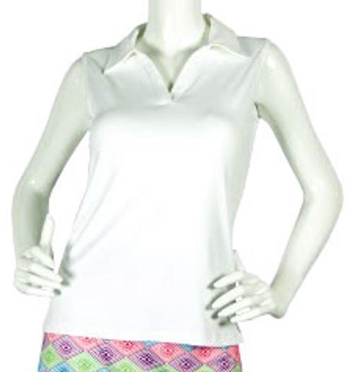 2GG White Sleeveless Golf Polo - Size: L & XL