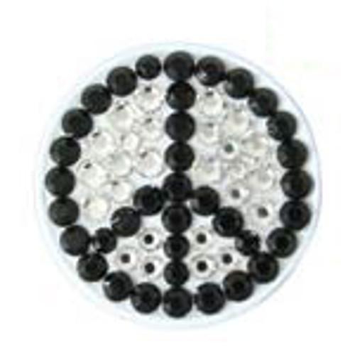 Bonjoc White Peace Sign Swarovski Crystal Ball Marker