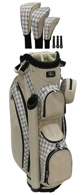 RJ Sports LB-960 Sand Plaid Ladies Golf Bag + Club Cover Set