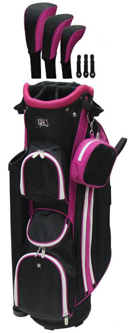 RJ Sports LB-960 Hot Pink Ladies Golf Bag + Club Cover Set