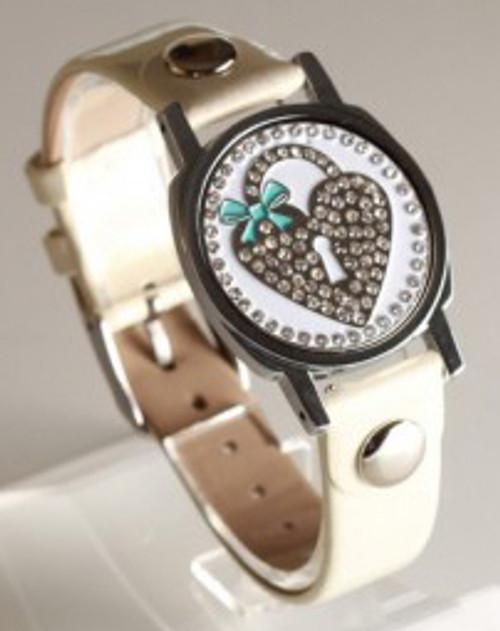 Heart Locket Ball Marker Bracelet with Ivory Band