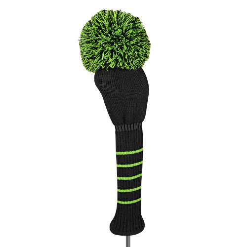 Just4Golf Solid Black Driver Cover with Green Trim