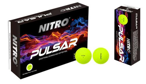 Nitro Pulsar Matte Yellow Golf Balls