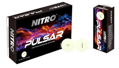 Nitro Pulsar Matte White Golf Balls