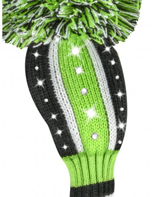 Just4Golf Sparkle Green & Black Vertical Stripe Hybrid Cover