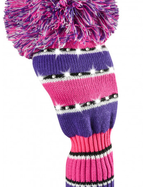 Just4Golf Sparkle Pink & Purple Stripe Driver Cover