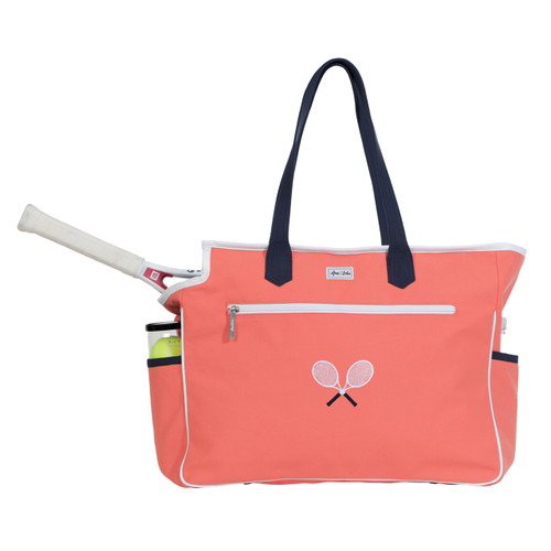 Ame & Lulu Kensington Crossed Racquets Ladies Tennis Court Bag - Coral