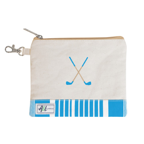 A&L Ticking Stripe Crossed Clubs Golf Tee Bag