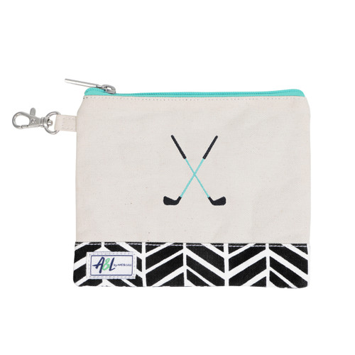 A&L Black Shutters Crossed Clubs Golf Tee Bag